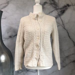 L.L. Bean Ivory Cabled Cardigan Size XL